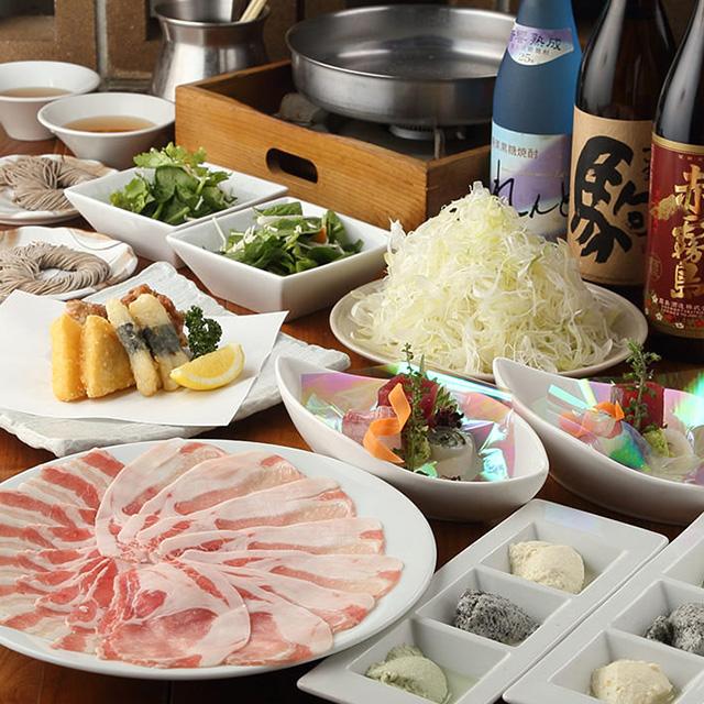 【料理+飲放】(全7品)刺盛3点付、黒豚しゃぶしゃぶコース 5980円→5000円